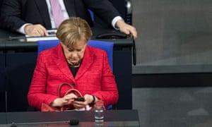 Angela Merkel in the Bundestag in Berlin