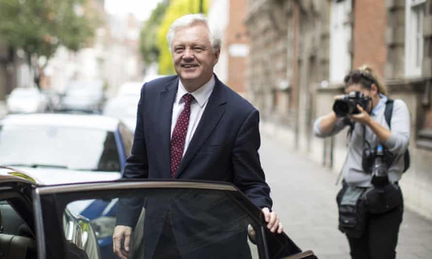 Brexit secretary David Davis leaves Millbank studios after a radio interview on the government's paper on customs arrangements with the EU