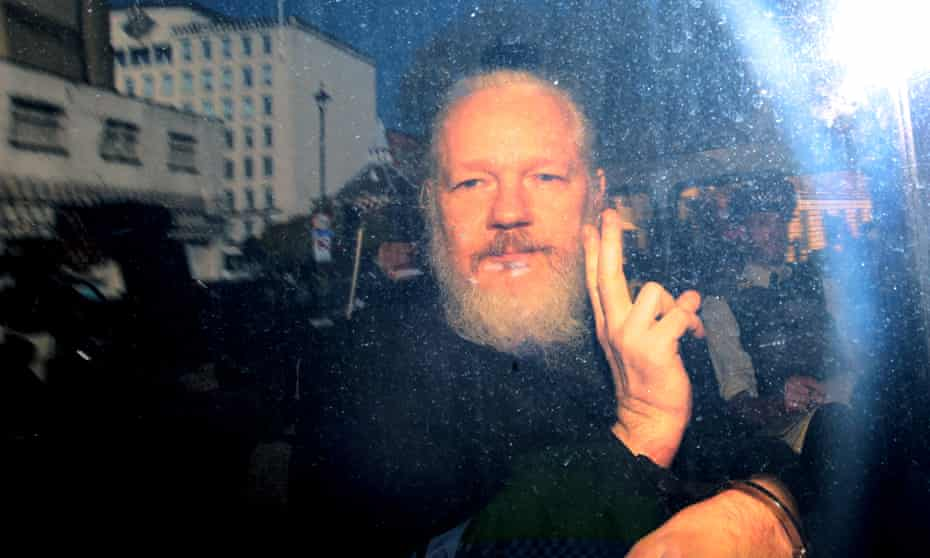 WikiLeaks founder Julian Assange in London after his arrest last month. He faces a maximum sentence of 175 years in prison if convicted of all the US charges.