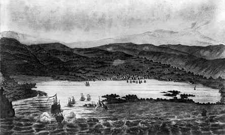 Wood engraving of Port Royal and Kingston Harbour, circa 1780.