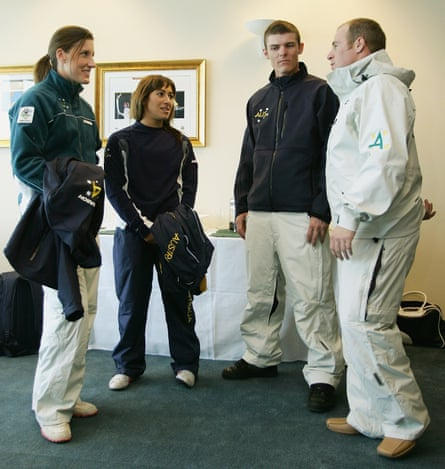 The Australian winter Olympic team of 2006 chat awkwardly for the cameras.