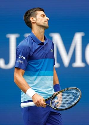 Novak Djokovic of Serbia reacts with dismay.