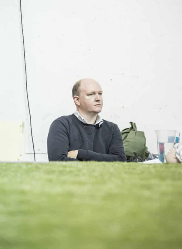 Mike Bartlett in rehearsals for Albion at the Almeida in 2017.