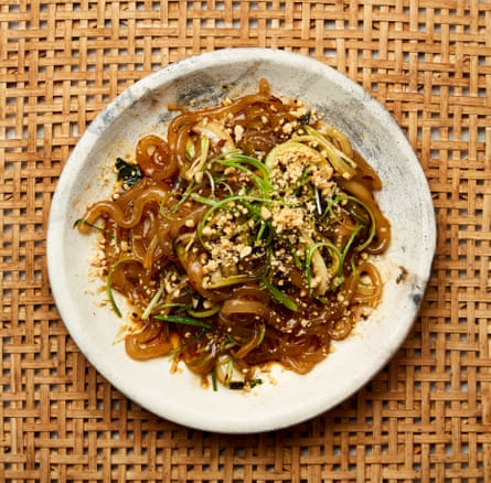 Meera Sodha's hot-and-sour potato noodles with pak choi.