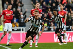 Matt Ritchie celebrates after scoring to win the game.