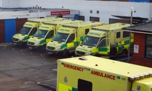 Ambulances parked outside Colchester NHS hospital in Essex