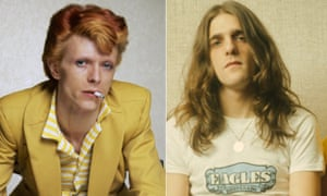 Star men … David Bowie in 1974 and Glenn Frey of the Eagles in 1973.
