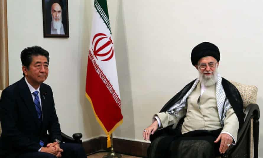 Iran's supreme leader, Ayatollah Ali Khamenei, meets Japan's prime minister, Shinzo Abe, in Tehran, Iran, on Thursday.