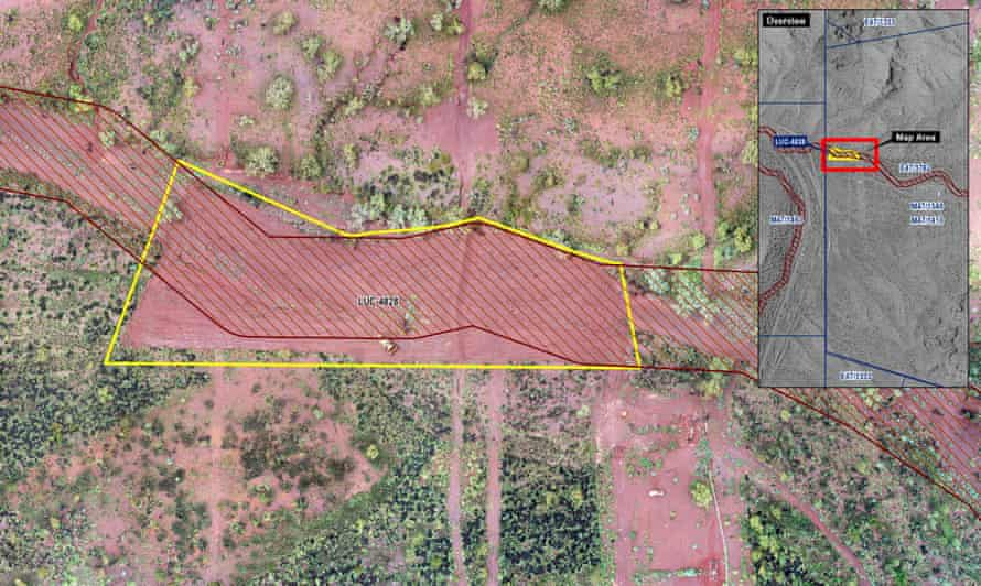 A aerial image with a map overlay showing the area which has been damaged at Weelamurra creek. Wintawari Guruma Aboriginal Corporation chairman requests WA government prosecute Fortescue after the mining giant clears land at Weelamurra Creek in breach of conditions.