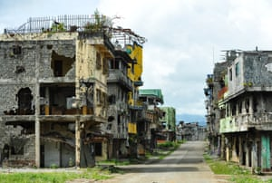 The ruined centre of Marawi on the Philippine island of Mindanao