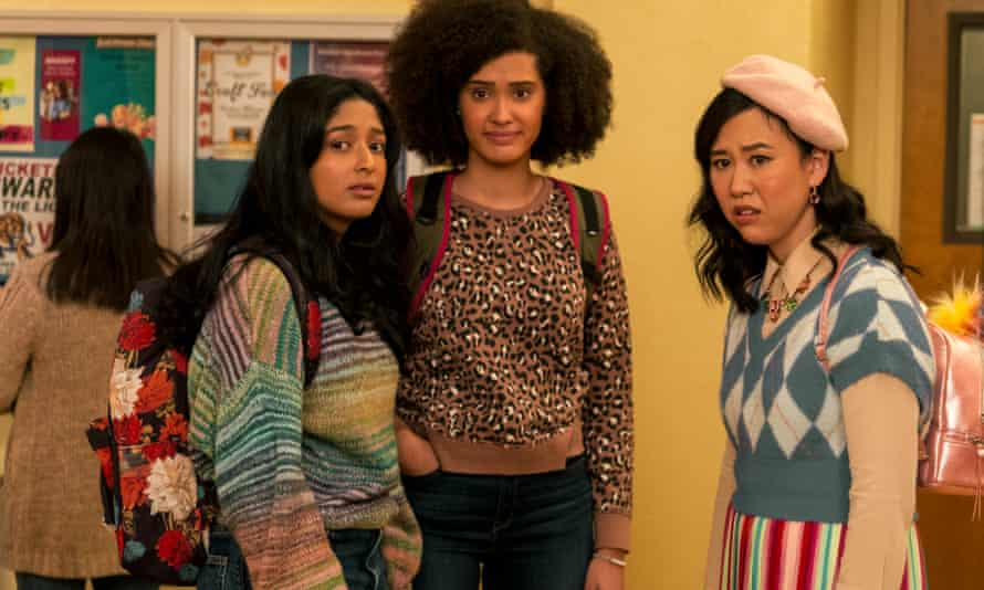 Maitreyi Ramakrishnan as Devi, Lee Rodriguez as Fabiola and Ramona Young as Eleanor in Never Have I Ever