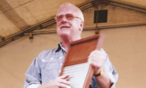Pete Shotton on washboard in 1997, when he joined the re-formed Quarrymen