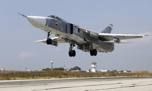 A Russian SU-24M fighter jet takes off from a Hmeimim airbase in Syria.