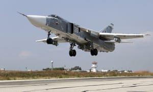 A Russian SU-24M fighter takes off from an airbase in Syria.