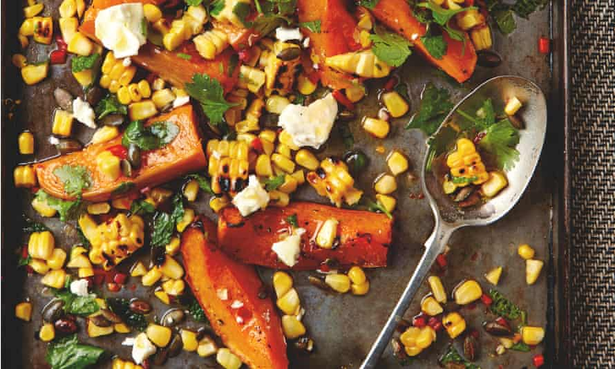 Yotam Ottolenghi's roast butternut squash with sweetcorn salsa, feta and pumpkin seeds: 'You'll get more of a bite if you use kernels shaved off a fresh cob.'