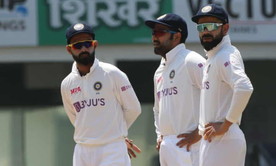 (Left to right): Vice-captain Ajinkya Rahane, Rohit Sharma and captain Virat Kohli during the defeat to England in the first Test in Chennai.