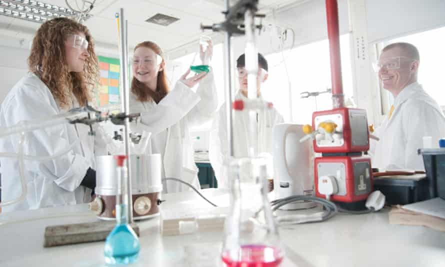 A science class at Currie community high school, Edinburgh.