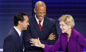 The Democratic presidential candidates Julián Castro, Cory Booker and Elizabeth Warren in Florida during a debate in June.