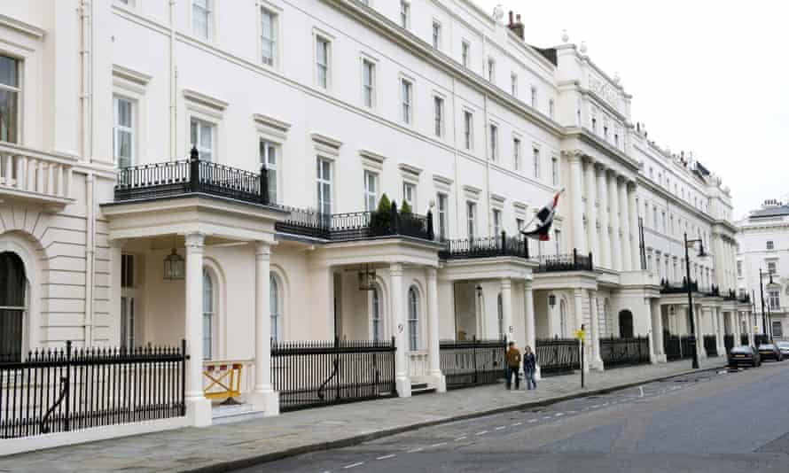one side of Belgrave Square, London