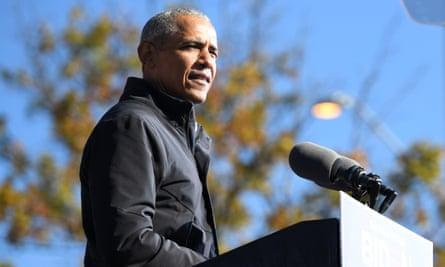 Barack Obama in Atlanta, Georgia, on 2 November.
