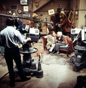 Harry H Corbett, left, and Wilfrid Brambell in a studio for a recording of Steptoe and Son in 1970