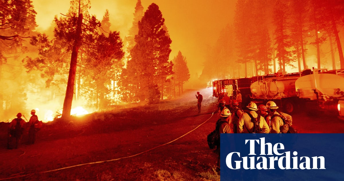 Caldor fire burns on both sides of US Highway 50, footage shows – video