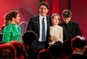 Justin Trudeau and family at an election night party in Montreal, Canada