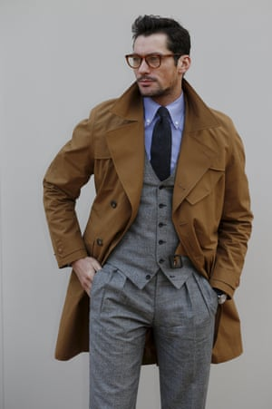 David Gandy arrives for the Burberry show.