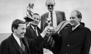 James Gilbert (right) with David Frost (left) and fellow TV executives in 1967.