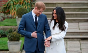 Prince Harry and Meghan Markle at Kensington Palace following the announcement of their engagement.