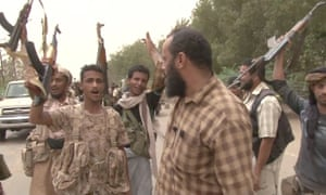 Yemeni pro-government forces gather at the south of Hodeida airport aiming to drive out Iranian-backed Houthi rebels
