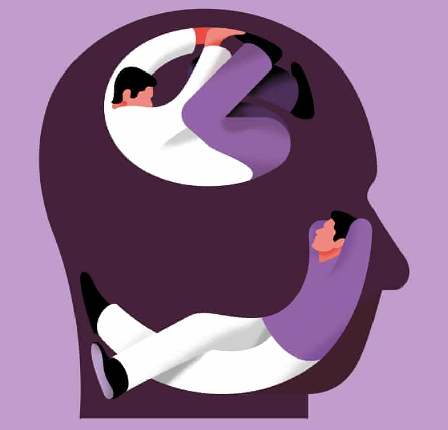 An illustration of two people curled up inside somebody's head