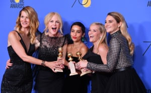 Laura Dern, Nicole Kidman, Zoe Kravitz, Reese Witherspoon and Shailene Woodley at the 75th Annual Golden Globes.