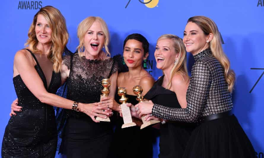 75th Annual Golden Globe Awards - Press RoomBEVERLY HILLS, CA - JANUARY 07: (L-R) Actors Laura Dern, Nicole Kidman, Zoe Kravitz, Reese Witherspoon and Shailene Woodley of 'Big Little Lies,' winner of the award for Best Television Limited Series or Motion Picture Made for Television, pose in the press room during The 75th Annual Golden Globe Awards at The Beverly Hilton Hotel on January 7, 2018 in Beverly Hills, California. (Photo by George Pimentel/WireImage)