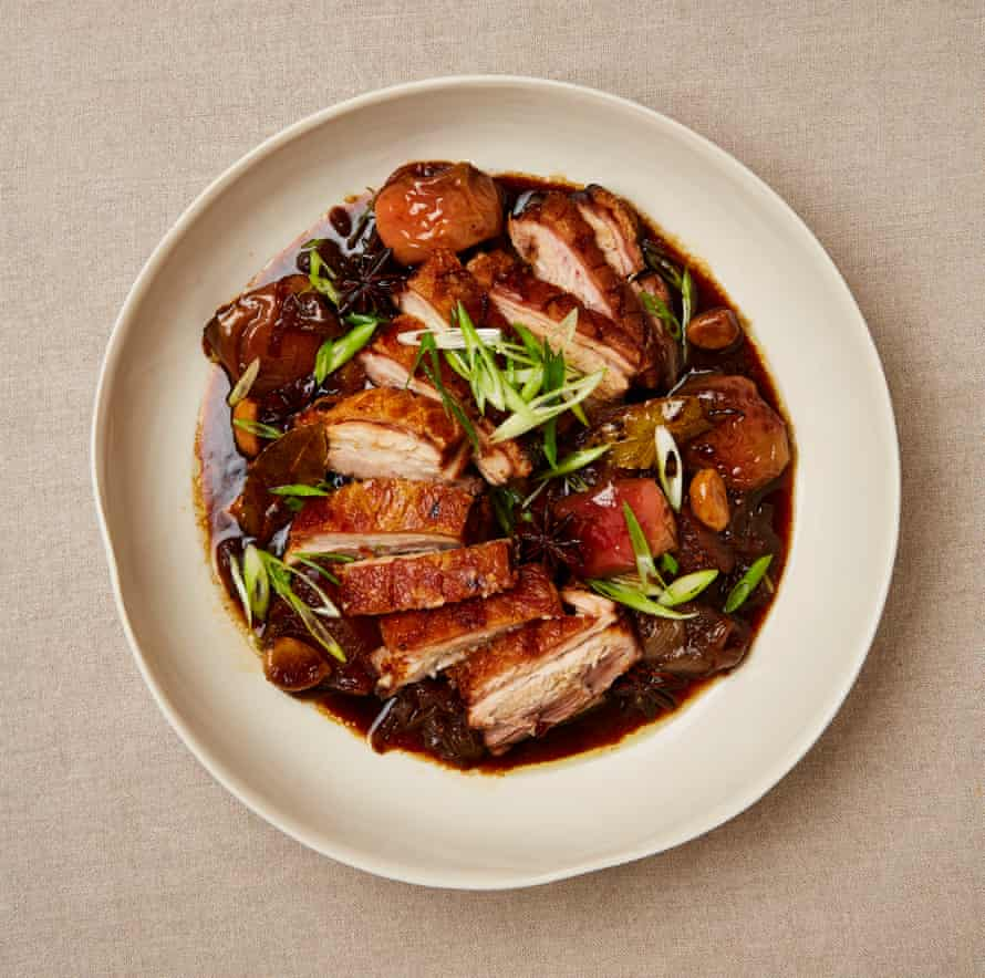 Roasted pork belly with apple, soy and ginger.