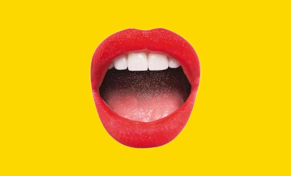 Illustration of red-lipsticked open mouth on yellow background