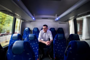 Daniel Andrews on the Labor bus in the final week of the election campaign.
