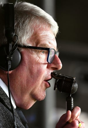 John Motson during his last Match of the Day commentary as Crystal Palace beat West Bromwich Albion 2-0 at Selhurst Park.