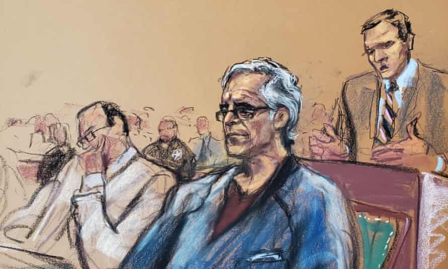 Jeffrey Epstein in court in New York last week. He was denied bail.