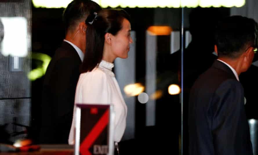 Kim Yo Jong, sister of Kim Jong-un, visits the Marina Bay Sands hotel in Singapore.