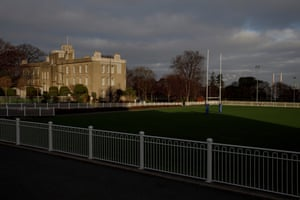 The main pitch, known as the 'Front Lawn' which is played on for a maximum of four matches per year, next to the 'Boarding Castle' at Blackrock College in Dublin.