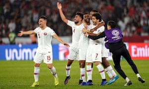 Qatar's players celebrate at the end of their 1-0 victory over South Korea that has set up an Asian Cup semi-final with the UAE on Wednesday.