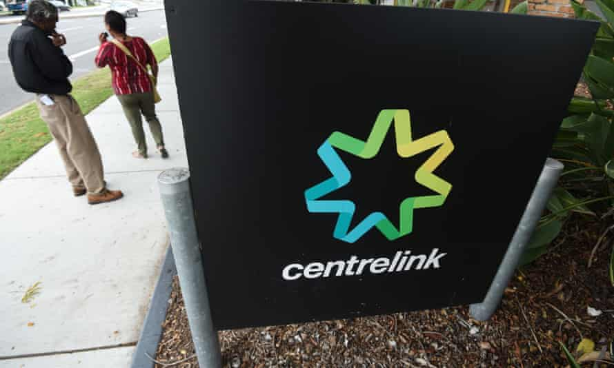 People outside a Centrelink office in Brisbane