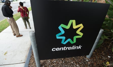 People outside a Centrelink office