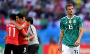 Korea Republic v Germany: Group F - 2018 FIFA World Cup Russia<br>KAZAN, RUSSIA - JUNE 27:  Thomas Mueller of Germany looks dejected following his sides defeat in the 2018 FIFA World Cup Russia group F match between Korea Republic and Germany at Kazan Arena on June 27, 2018 in Kazan, Russia.  (Photo by Laurence Griffiths/Getty Images)