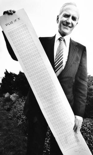 Felton displays the Pegasus printout of Pi to 10,017 decimal places in 1957.