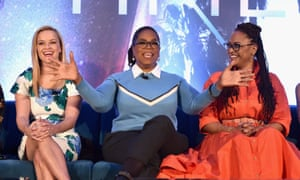 Oprah Winfrey with co-star Reese Witherspoon and director Ava DuVernay at a press conference for A Wrinkle in Time.