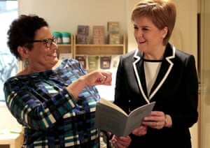 Makar Jackie Kay with First Minister Nicola Sturgeon, at the Scottish Poetry Library in Edinburgh, 2016