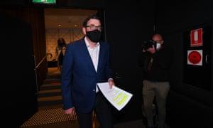 Victorian premier Daniel Andrews arrives to a press conference in Melbourne, Monday, 12 October 2020.