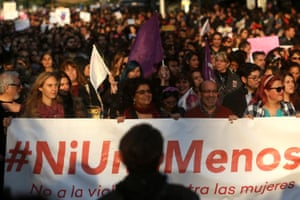 Hundreds of people took part in the march in Santiago, Chile.